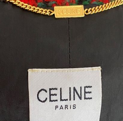 CELINE Woollen suit with checkered golden metal buttons with the brand's motif Size...