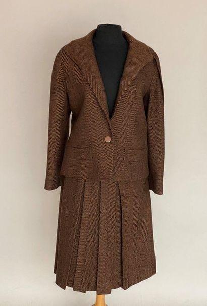 PIERRE CARDIN Paris Black and white herringbone wool suit Size 40