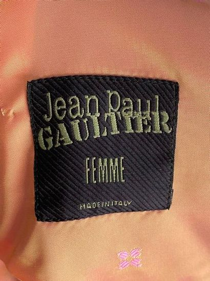 JEAN PAUL GAULTIER Brown woollen coat dress with stripes and patterns in blue on...