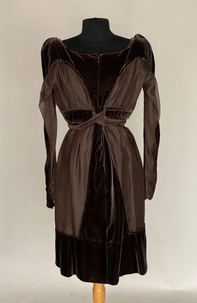 YVES SAINT LAURENT Rive Gauche Chocolate velvet and silk dress with knotted belt...