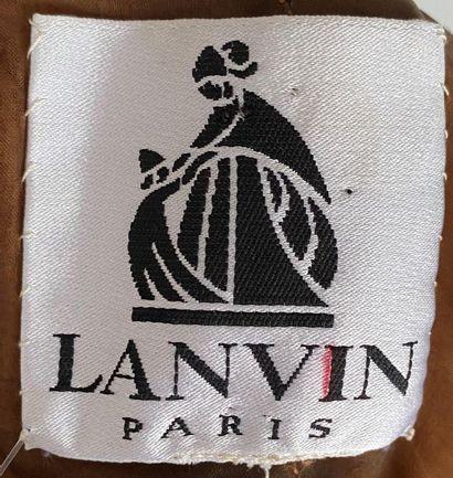 LANVIN Paris Haute Couture Cognac satin dress with pearled organdis neckline Size...