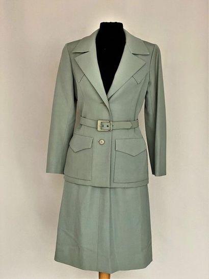 NINA RICCI Paris Water green cotton suit with belt - Size 38