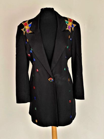 VERSACE  Black composite fiber coat embroidered with Maltese crosses and faceted...