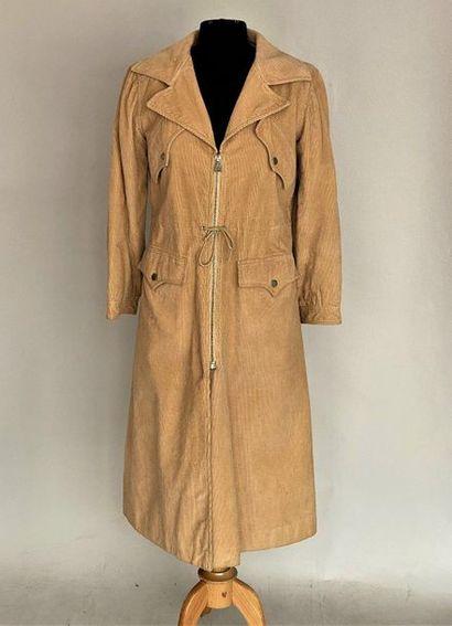 COURREGES Paris Couture Future Cream corduroy coat with lace belt size 42