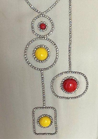 La Boutique de JEANNE LANVIN Dress set in ivory wool crepe applications of yellow...