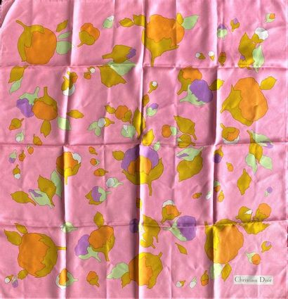 CHRISTIAN DIOR Silk scarf decorated with flowers on a pink background  (small stains...