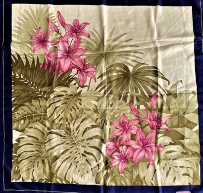 S.T.DUPONT Paris Silk scarf decorated with pink lilies with navy border  (slight...