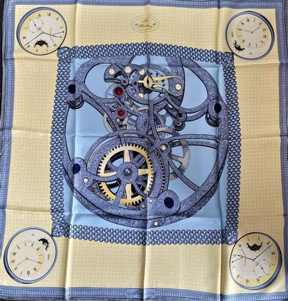 THE WATCHES Silk scarf in grey blue and straw...