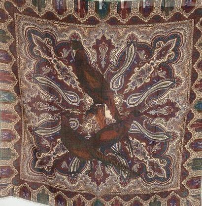 CELINE Paris Wool stamen shawl with brown...