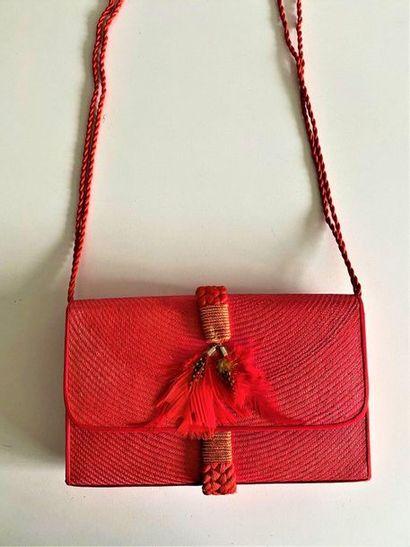 CORA JACOBS Fuchsia raffia clutch bag with...