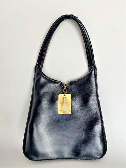 LANVIN Shoulder bag in navy leather with...