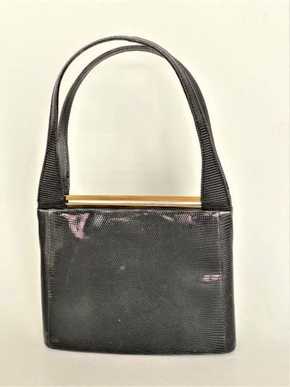 DELVAUX Bag in black lizard with 2 handles...