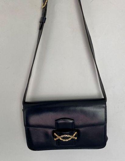 CELINE Shoulder bag in navy box with gold...