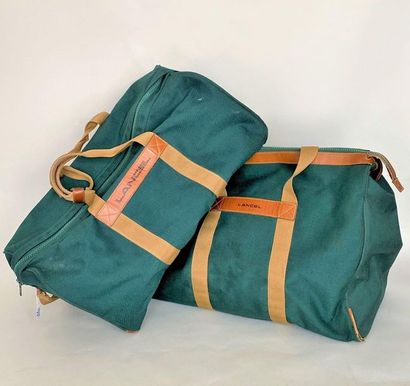 LANCEL 2 Canvas Travel Bags with green and...