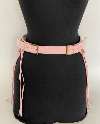 ANDRE MANOUKIAN 2 Pink suede belts with fringes...