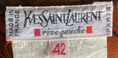 YVES SAINT LAURENT Rive Gauche checkered wool and silk kilt Size 42