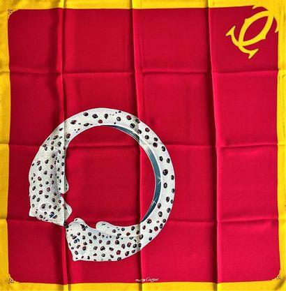 Must de CARTIER Silk crepe scarf red background...