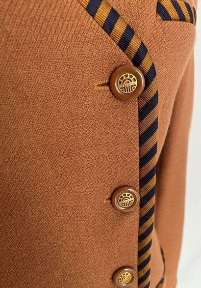LOUIS FERAUD Brown woollen jacket with black stripes Size 40