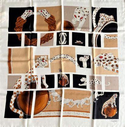 CARTIER Paris Silk scarf with white background...