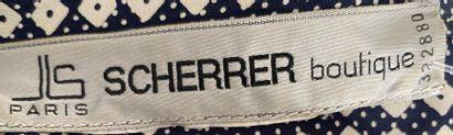 SCHERRER Boutique Robe en soie à petits damiers noirs et blancs Taille 40