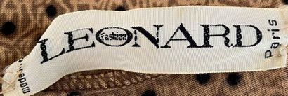 LEONARD Wool jersey blouse dress partridge eye beige and black Size 38