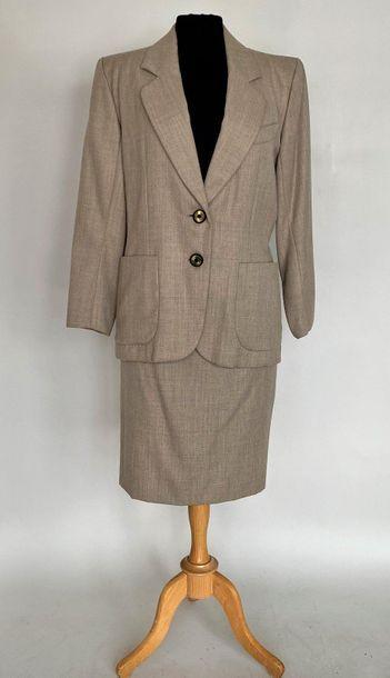 YVES SAINT LAURENT Rive Gauche Ice brown wool suit Size 38