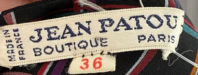 JEAN PATOU Boutique Checkered silk blouse black background Size 36