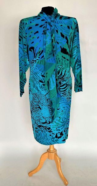 SCHERRER Boutique Robe en soie verte et bleue...