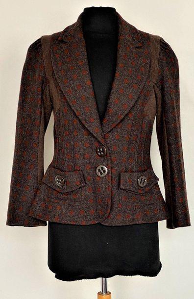 Sonia RYKIEL Veste en lainage et tricot marron...