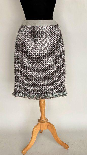 FERAUD Jupe en lainage tissé bordeaux gris...