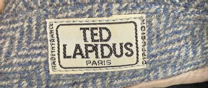 TED LAPIDUS Grey and white herringbone wool jacket with belt Size 36