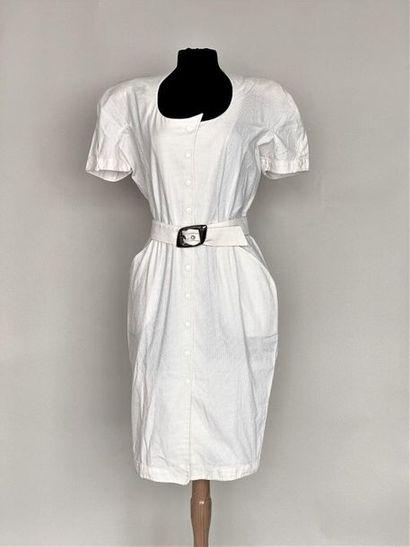 THIERRY MUGLER Robe en piqué de coton blanc...