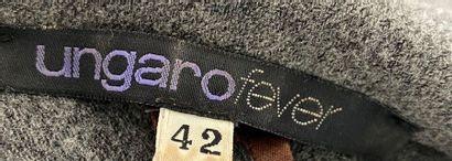 UNGARO FEVER Grey flannel short jacket with fringed edge Size 38