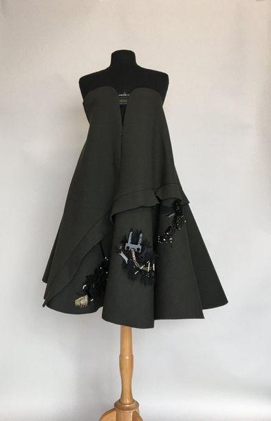 KENZO Robe bustier à godets en matière composite...