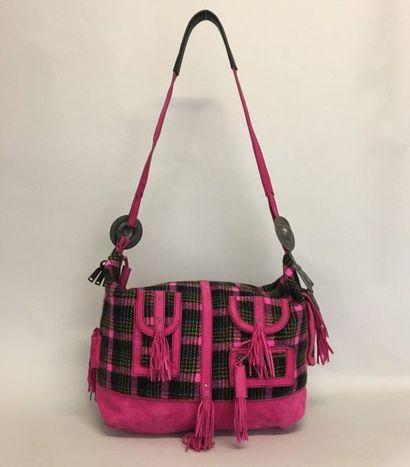 KENZO Grand sac besace en lainage à carreaux...