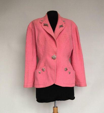 THIERRY MUGLER Veste en coton bouclette rose...