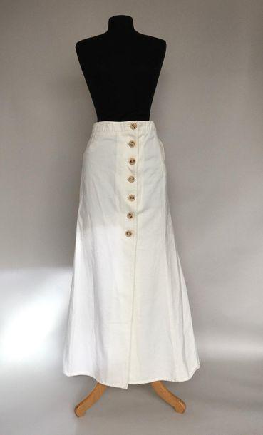 CHANEL Jupe longue en coton blanc Taille...