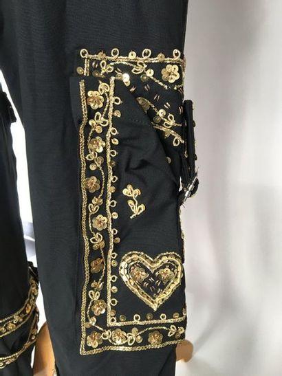 CHRISTIAN DIOR Boutique Paris Pantalon en matière composite noire brodé de lacets...