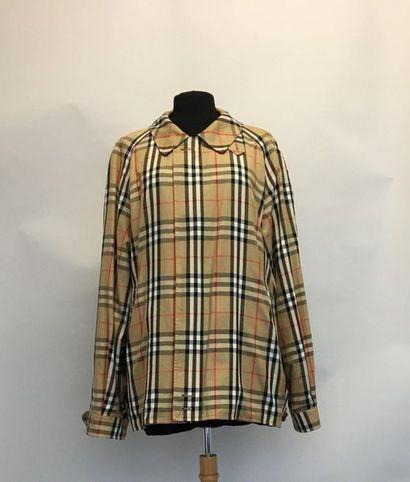 BURBERRYS Veste zippée en coton beige à carreaux...