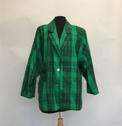 BURBERYS Veste légère en coton vert à carreaux...