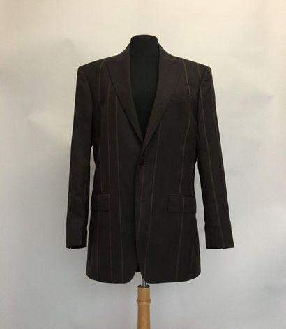 KENZO Homme Veste en lainage marron à rayures...