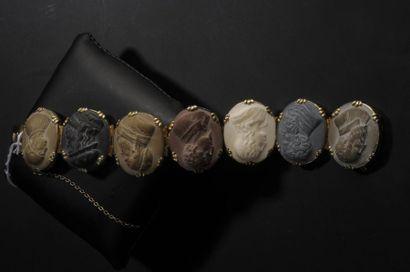 Bracelet en vermeil doré composé de sept...