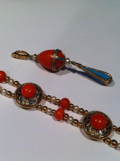 Bracelet en or composé de deux lignes de...