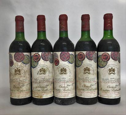 5 bouteilles Château MOUTON ROTHSCHILD 6...