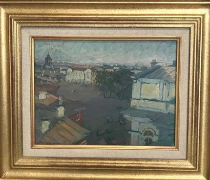 Ecole Russe Vue d'une ville huile sur carton...