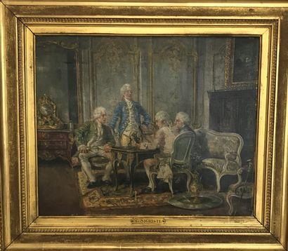 GUIDO SIGRISTE (1864-1915) Le salon d'amateurs...