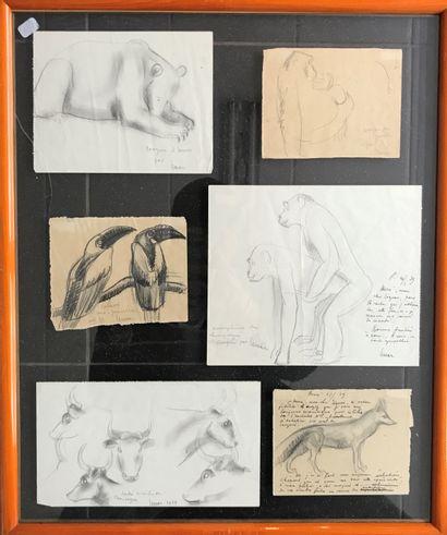 MARCEL LEMAR (1892-1941) Planche de 6 croquis...