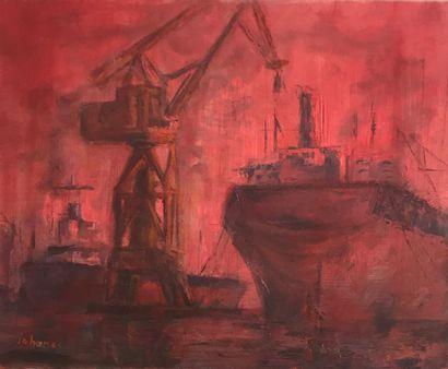 IOHANES (école XX°) Chantier naval huile...