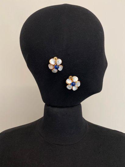 GRIPOIX Paire de clips d'oreilles fleur en...