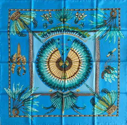 HERMES Paris Brazil carré en soie fond turquoise...